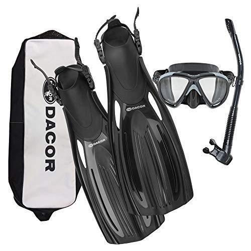 Dacor Scuba Mask Fin Snorkel Package (Black, Large)