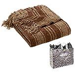 Sonoma life + style Luxury Striped Chenille Throw & Bag - 2 Piece Gift Set (Brown)