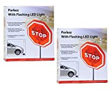 Parkez Flashing LED Light Parking Stop Sign For Garage, 2 pack