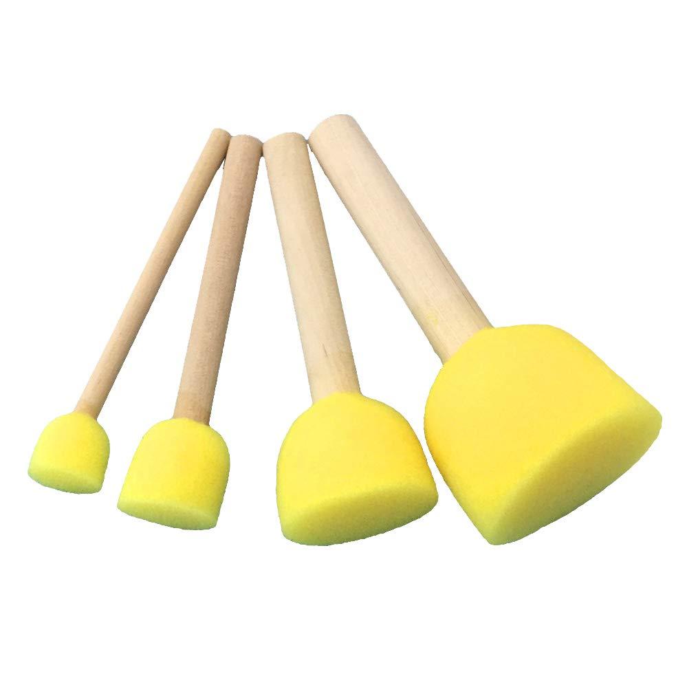 SUPVOX Sponge Paint Brush Round Sponges Brush Set Kids Painting Tools Stippler - 1.5cm/2.0cm/3.0cm/4.0cm 15 Packs(4pcs/Pack)