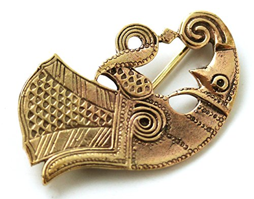 [Bronze Norse Viking Horn Brooches, Clothes Fasteners - Cloak Pin, Shawl Pin, Scarf Pin, Vintage] (Viking Outfits For Adults)