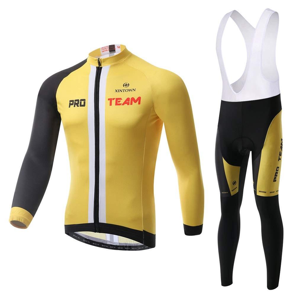 Pinjeer Gelb Hauptfarbe Jugend Stil Männer Team Bike Radfahren Jersey Kleidung Anzüge Mountainbike Reiten Atmungsaktive Jersey Männer Langarm Sets mit Lätzchen
