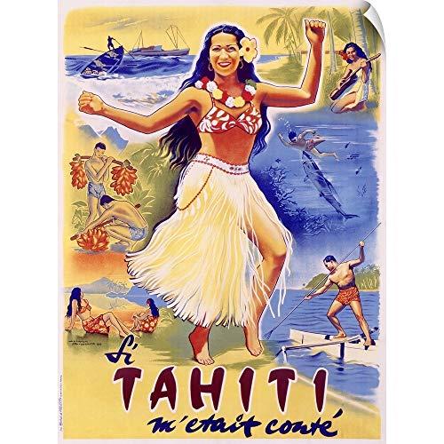 CANVAS ON DEMAND Tahiti, Wahine Hula Dance, Vintage Poster Wall Peel Art Print, - Hula Dance Wahine