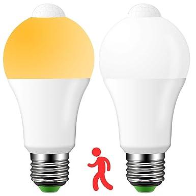 LED E27 Lampe mit Bewegungsmelder, Automatik ein/aus, 9W ersetzt 90W Halogen, Warmweiß (2700K), 1000 Lumen, PIR Sensor Birne