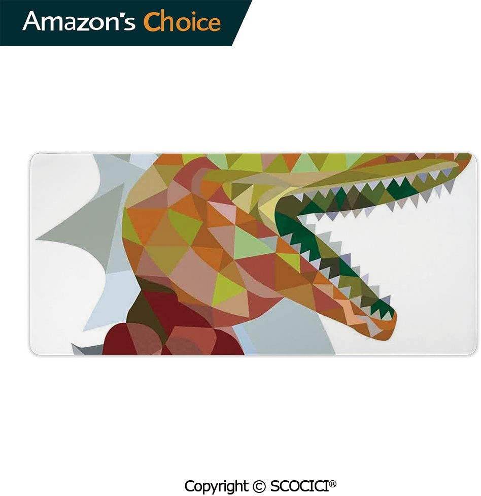YOLIYANA Large Gaming Mouse Pad Locking Edge Mouse Mat Multi Colored Mosaic Wild Trex Illustration Opens Mouth Dinosaur Pixel Gaming Mouse Anti-Slip Rubber Mousepad for Laptop 23.6 x 11.8 inch