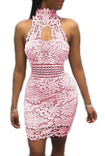 lter Backless Lace Floral Pencil Bodycon Club Dress Pink US M (Beaded Pencil)