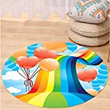 VROSELV Custom carpetCartoon Decor Rainbow Sky with Balloons Hearts Colors Romantic Love Valentines Spring Theme for Bedroom Living Room Dorm Multi Round 79 inches