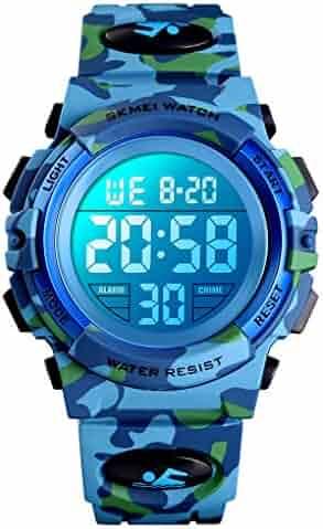 Boys Watch Digital Sports 50M Waterproof Watches Boys Girls Children Analog Quartz Wristwatch with Alarm - Light Blue
