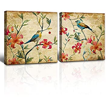A Cup of Tea Wall Art Birds Canvas Art Colorful Parrot with Flower Floral Green Leaves Paintings Wall Art Decor for Living Room Bedroom Modern Canvas Artwork (Vintage-Bird-Flower)