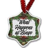 Christmas Ornament Vintage Lettering What Happens at Bingo - Neonblond