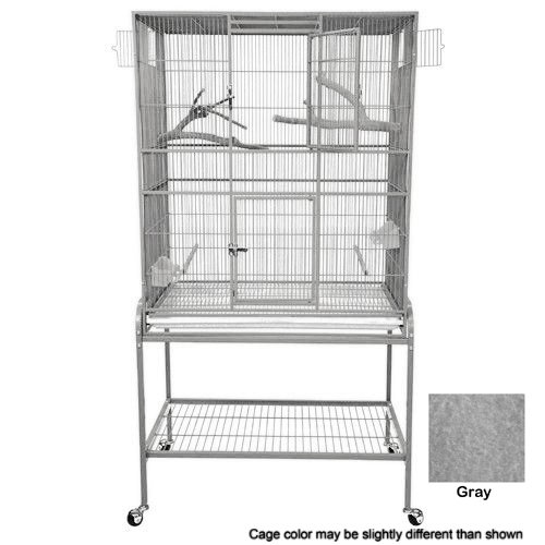 KING'S CAGES Superior Line Extra Large Flight Cage SLFXL 3221 PARROT CAGE 32x21x62 bird toy canary finch parakeet sugar glider (GRAY/SILVER)