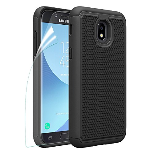 OEAGO Galaxy J3 2018/J3 Achieve/J3V J3 V 3rd Gen/J3 Star/Amp Prime 3/Express Prime 3/Sol 3 Phone Case with HD Screen Protector, OEAGO [Shockproof] Hybrid Dual Layer Case Cover (Black)