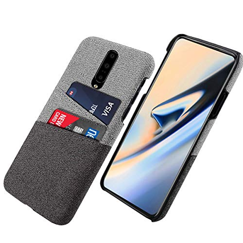 Scheam TPU Case Compatible for OnePlus 7 Pro ; Minimalist Card Case with UltraGrip Canvas Style Synthetic Leather, Slim Professional Snap On Cover [Grey] ()