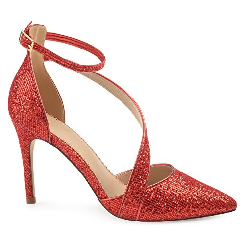Glitter Strap Brinley Red Asymmetrical Pointed Womens Heels Co Toe Zelly nB7gU0qw