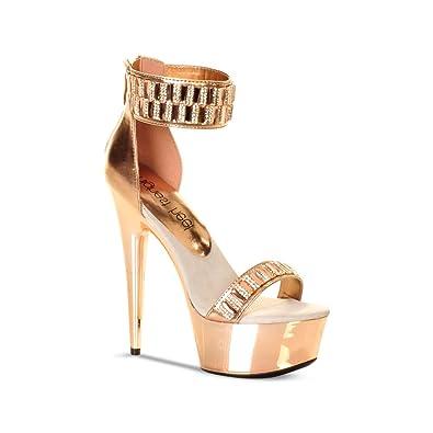 8561dad1d2d26 Amazon.com | The Highest Heel Women's GLAMOROUS-21 Diamond Vamp And Ankle  Cuff Platform Sandal | Heeled Sandals