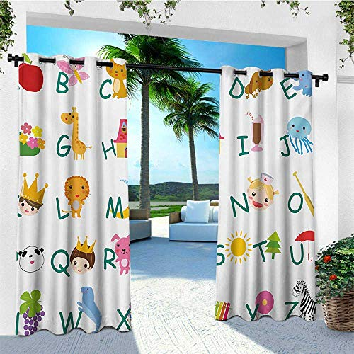 leinuoyi Educational, Outdoor Curtain Set of 2 Panels, Cute Kids Alphabet with Fruits Animals Prince Princess Cheerful Colorful Design, Outdoor Privacy Porch Curtains W120 x L96 Inch Multicolor -