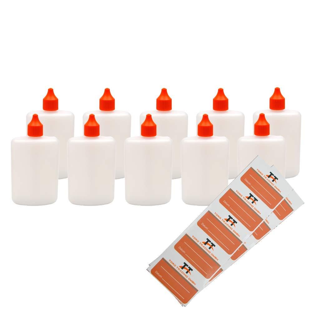Petaca ovalada de plástico HDPE, incluye etiquetas (blanco/transparente), botella líquida con cuentagotas y dosificador, 125ml, 0