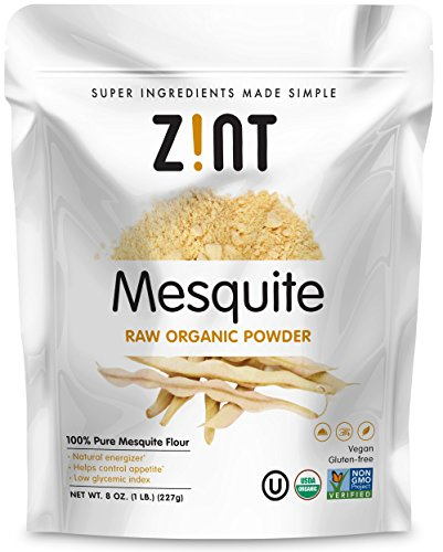 Raw Mesquite Powder by Zint: Organic, Non GMO, Vegan Protein Superfood - Mesquite Beans and Pods - Delicious Gluten Free Flour Substitute (8 oz)