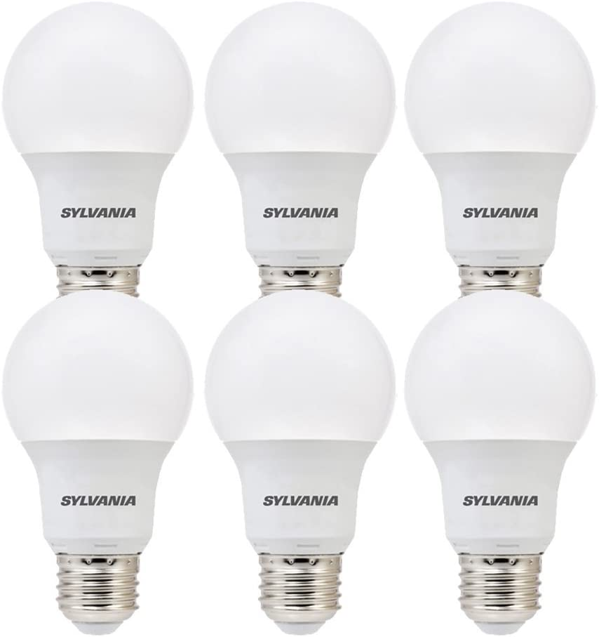 SYLVANIA, 60W Equivalent, LED Light Bulb, A19 Lamp, 6 Pack, Daylight, Energy Saving & Long Life, Medium Base, Efficient 8.5W, 5000K