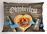 Ambesonne Oktoberfest Pillow Sham, Oktoberfest Beer Festival Cutlery Ribbon and Cutting Board on Restaurant Table, Decorative Standard Size Printed Pillowcase, 26 X 20 inches, Blue Gray
