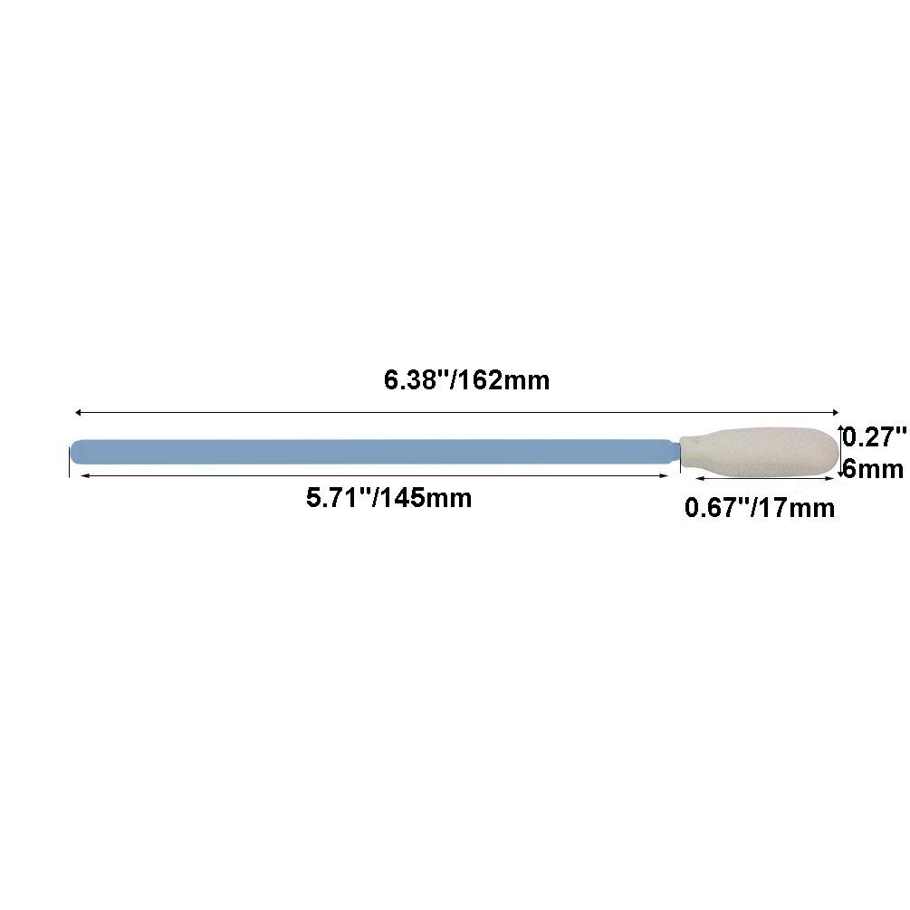 "KJHome 100psc 6.38"" Foam Cleaning Swabs for Inkjet Printer, Printhead, Camera, Cleanroom, Optical Lens, Gun, Automotive Detailing, Optical Equipment(Blue)"