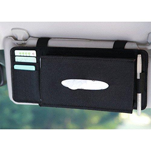 (Carrfan Car Tissue Box, Sun Visor Napkin Holder Vehicle Accessories Organizer Pouch Card Storage)