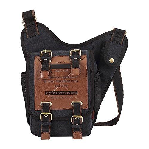 Military Negro Chest Sling Canvas Shoulder Crossbody Bags Patchwork Sports Outdoor Retro Casual Vrikoo Messenger Bag School pBw8q11