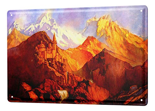 LEotiE SINCE 2004 Panoramic Mountain Monastery Tin Sign Metal Plate Decorative Sign Home Decor Plaques 20x30 cm Metal Plate Shield Wall Decoration Decoration Decoration Retro Pinup -