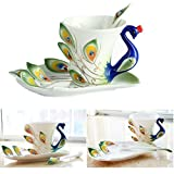 Cisixin Handcrafted 3D Peacock Ceramic Mug Set with Saucer and Spoon Tea/Coffee Cup (Green,Peacock)