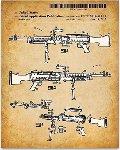 M240 Machine Gun - 11x14 Unframed Patent Print - Great Shooting Range Decor or Gift Under $15 for Gun Enthusiasts