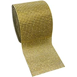 "Gold Diamond Rhinestone Mesh Ribbon, Wedding Ribbon, Diaper Cake Ribbon, 4.75"" x 10 Yards, 24 Row, 1 Roll"