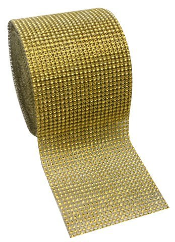 Super Z Outlet ZT684 Acrylic Rhinestone Diamond Fabric Ribbons, Gold -