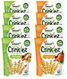 Sprout Organic Crinklez Toddler Snack Variety Pack, 1.5 Ounce Bags (8 Count) 4 Bags of Each Flavor: Pumpkin Carrot, Cheesy Spinach