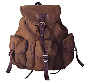 Amazon.com : Military Style Backpack Canvas Day Pack Brown Unisex ...