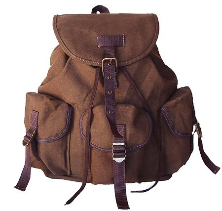 UPC 722301667293, Military Style Backpack Canvas Day Pack Brown Unisex Backpack