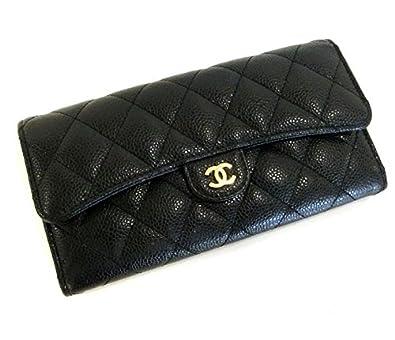 d5b6ae4166ca Amazon   シャネル 二つ折り長財布 マトラッセ キャビアスキン ブラック(黒)×ゴールド金具 [中古]   財布