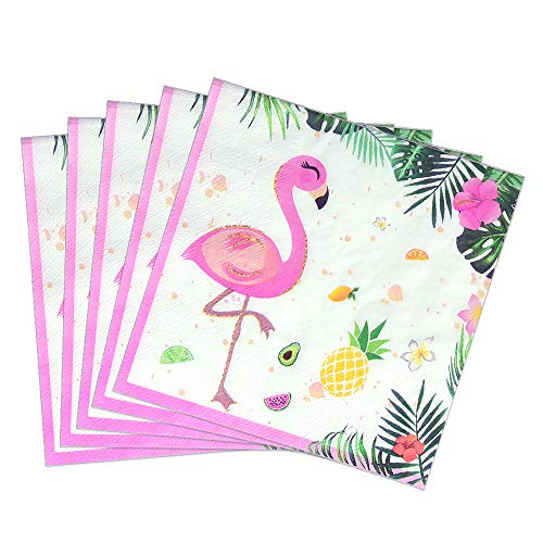 WERNNSAI Flamingo Party Supplies - 50PCS Disposable Dinner Party Luncheon Napkins Hawaiian Luau Tropical Themed Party Pink Paper Napkins for Baby ShowerBirthday Wedding Pool Tea Party