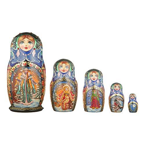 danila-souvenirs Russian Wooden Nesting Dolls Hand Painted Matryoshka 5 pcs Set Winter 6'' by danila-souvenirs (Image #2)