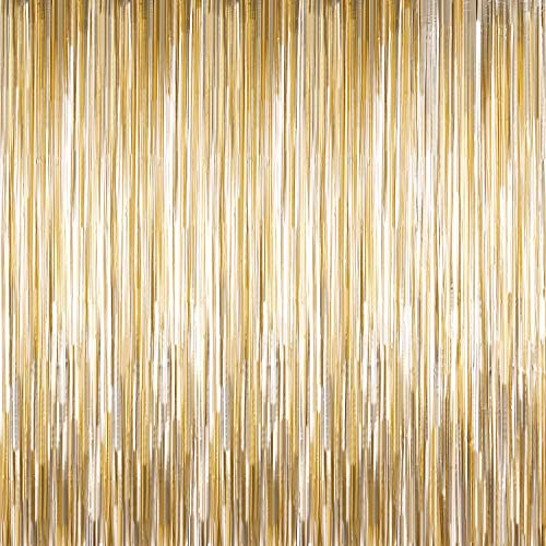 Sumind 4 Packs Photo Booth Backdrops Foil Curtains Metallic Tinsel Backdrop Curtains Door Fringe Curtains for Wedding Birthday Christmas Halloween Disco Party Favour Decorations (Matt Light Gold)]()