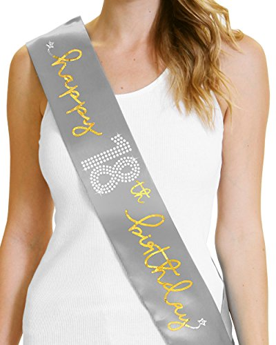 Happy 18th Birthday Gold Foil Sash 18th Birthday Party Gifts for Girls Silver