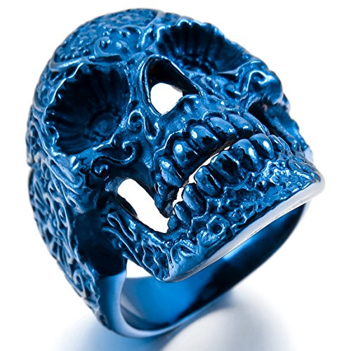 INBLUE Stainless Steel Skull Flower