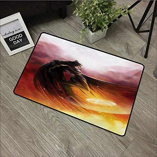 Bathroom mat W24 x L35 INCH Fantasy World,Superhero in His Original Costume Flying Up Magic Flame Save The World Theme,Yellow Red Easy to Clean, Easy to fold,Non-Slip Door Mat Carpet -