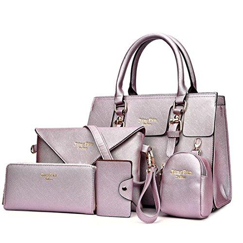 5 Pcs Classic Messenger Bag Imitation Leather Shoulder Bag for Women Handbag Purse Set Light Pink Light Purple