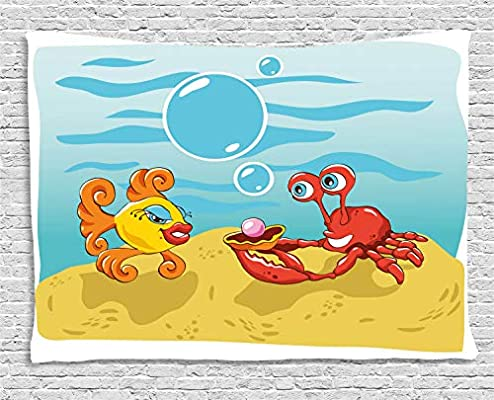ABAKUHAUS Dibujos Animados Tapiz de Pared, Peces Cangrejo De La ...