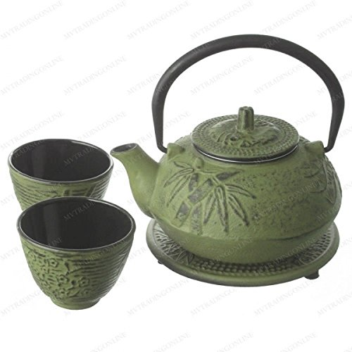 M.V. Trading New Star International T8180 Cast Iron Bamboo Tea Set with Trivet, 21 oz, - Green Cast Bamboo