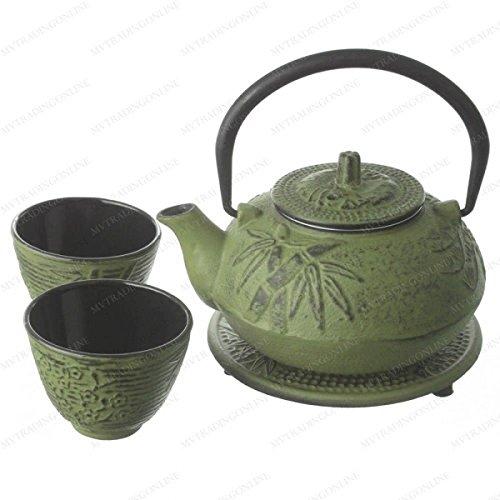 Tetsubin Green Cast Iron Teapot - M.V. Trading New Star International T8180 Cast Iron Bamboo Tea Set with Trivet, 21 oz, Green