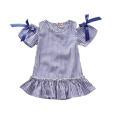 Trule Toddler Kid Baby Girl Off Shoulder Striped Printed Party Princess Dress Clothes Children's Fishtail Dress Blue