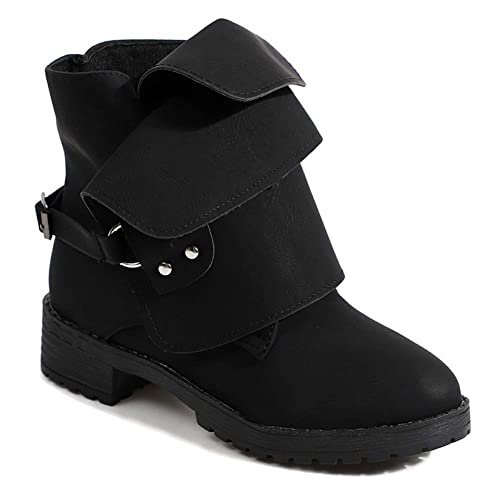 a54e7cbee48 uirend Winter Ankle Boots Short Booties Women - Ladies Flat Boots Low  Chunky Heel Shoes Leather