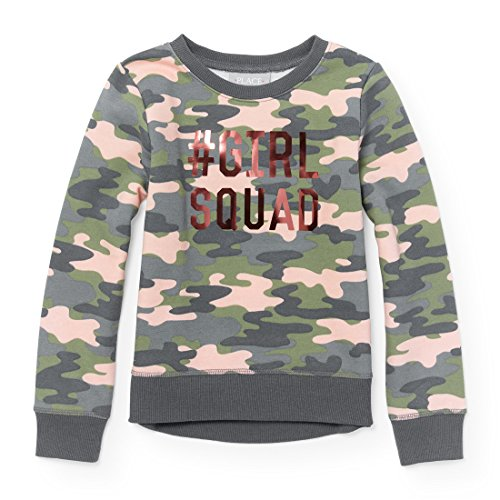 The Children's Place Big Girls' Camoflauge Active Graphic Long Sleeve Top, Multi Clr 91070, XXL(16)