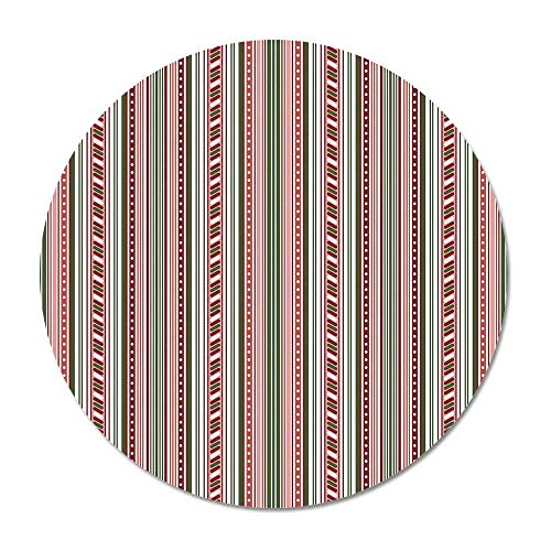 Abstract Round Door Mat 23.6 Inches,Vertical Stripes with Dots Little Geometric Circles Contrast Toned Bands Design for Living Room Bedroom,23.6''Round ()